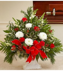 Sympathy Floor Basket in Winter Colors Arrangement