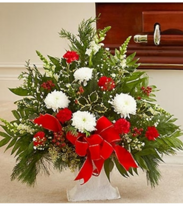 Sympathy Floor Basket in Christmas Colors Arrangement