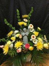 Sympathy flowers with keepsake angel