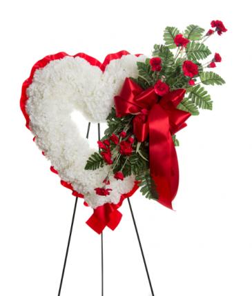 Sympathy Open Heart Silk Funeral Arrangement