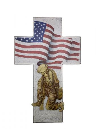 Sympathy Plaque - Kneeling Soldier Cross