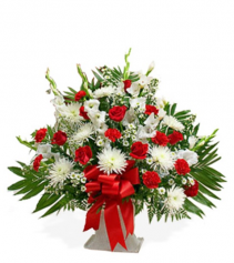 Sympathy Red & White Floor Basket basket