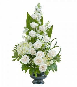Sympathy Roses and Hydrangea Vase Arrangement in Walpole, MA | VILLAGE ARTS & FLOWERS