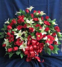 Sympathy Silk Funeral Basket Silk Arrangement