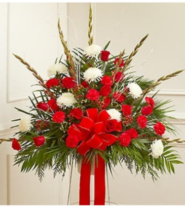 Sympathy Standing Basket in Christmas Colors Arrangement