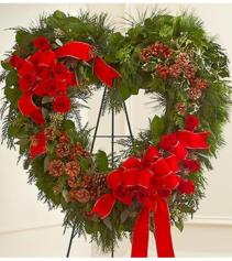 Sympathy Standing Open Heart in Christmas Colors Arrangement