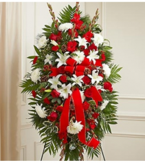 Sympathy Standing Spray in Christmas Colors Arrangement