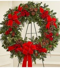 Sympathy Standing Wreath in Christmas Colors Arrangement