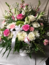 Sympathy Urn of Pinks White and Greens Pink Whie and Green Sympathy Urn