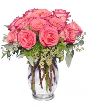 Symphony In Roses Coral Floral Vase in Houston, TX | MARY'S LITTLE SHOP OF FLOWERS