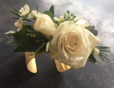 Simple White Elegance Brass Cuff Corsage