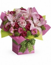 T19-1B Teleflora's Pretty Pink Present Flower Arrangement