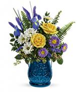 T19E200A Teleflora's Sapphire Garden Bouquet Blue Lantern Candle Holder