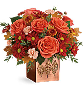 T19T300B Teleflora's Copper Petals Bouquet DX Copper Cube