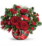 T19X400A Teleflora's Deck The Holly Ornament Bouqu