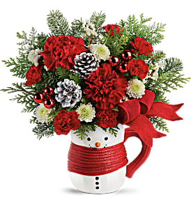 T19X500A Send a Hug Snowman Mug Bouquet by Teleflo