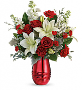 T20V100B Teleflora's Radiantly Rouge Bouquet DX