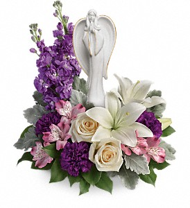 T274-3A Teleflora's Beautiful Heart Bouquet Fine Porcelain Angel with Gold Trim