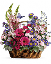 T48-3B Country Basket Blooms DX Basket Arrangement