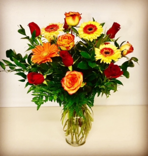 Ta-Da! Gerber Daisies with 12 Mix Colored Roses in Plainview, TX | Kan Del's Floral, Candles & Gifts