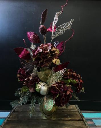 Forever Frosted Burgundy   Holiday Forever Flower Arrangement