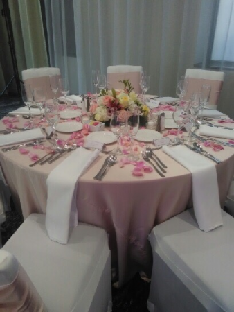 Table Centerpiece and Rose Petals Wedding