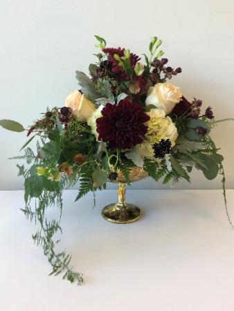 Table centerpiece burgandy and ivory Wedding arrangement