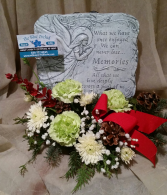 Table Top Plaque with Flowers cement plaque