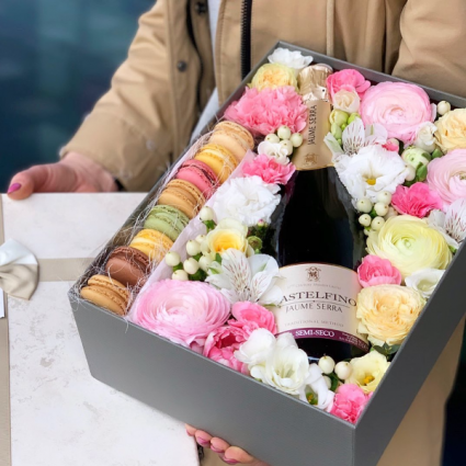 Bubbly & Macron Floral Gift Box  Next Day Delivery