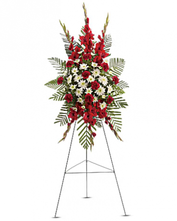 "TAILORED PALM SPRAY STANDING FUNERAL PC ON A 5'-6"" STAND"