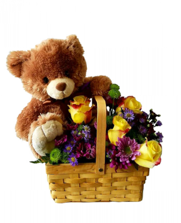 Take Me With You Flower Basket with Bear