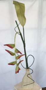 Tall Clay Vase Tropical Silk/Permanent Arrangement