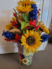 Tall Country Tin with Sunflowers, wheat, blue and  Artificial silk
