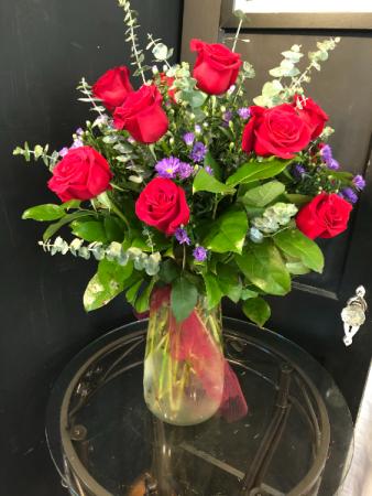 Tall dozen red roses