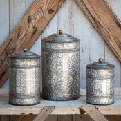 Tall Galvanized Canisters, Set of 3 Gifts
