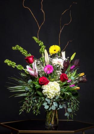 Tall Garden Mix  Clear Vase Arrangement