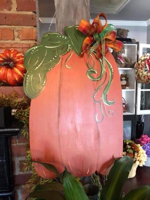 Tall Pumpkin Door Hanger  in Albany, GA | WAY'S HOUSE OF FLOWERS