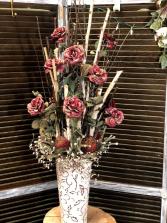 Tall Red Rose Silk Arrangement