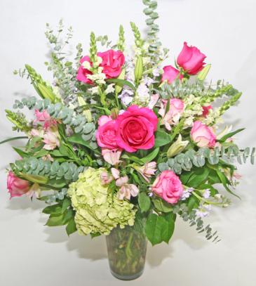 TALL ROSE & HYDRANGEA FLORAL Tall Arrangement