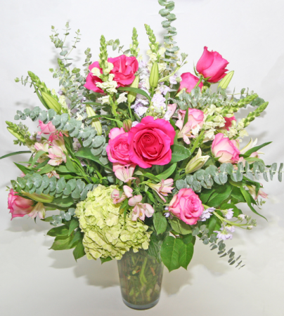 TALL ROSE & HYDRANGEA FLORAL Tall Arrangement