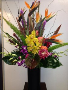 Tall Tropical Arrangement  in Fresno, CA | FLOWERS AND MORE