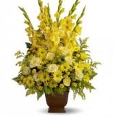 Tall Yellow Sympathy Basket