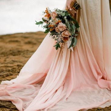 Tan & Blush Boho Horizonal  Bridal Bouquet