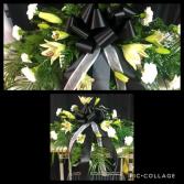 TASTEFUL BLACK & WHITE CASKET FLOWERS