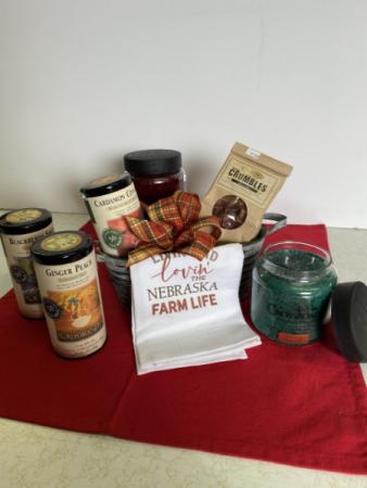 Tea, Candles, Crumbles and Tea towels Gift