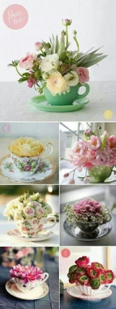 Tea Cup Double Delight Designers choice with One Cup Of Lovely Seasonal Spring Flowers.