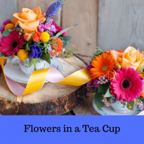 Tea Cup Flowers Arrangement