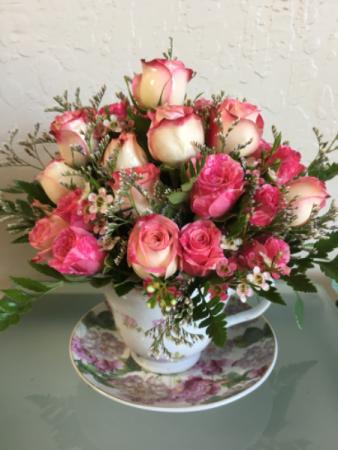 Tea Time!  With Mini-Spray Roses