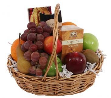 Tea & Fruit and Cookies Basket  Gift baskets