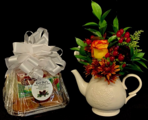 Tea Time Teapot Floral with Muffins & Tea in Plainview, TX | Kan Del's Floral, Candles & Gifts